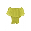 Light Green Ruffle Layer Off-the-Shoulder Elastic Waist Chiffon Blouse