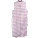 Lilac Plaid Single Pocket Sleeveless Midi Shirt Dress