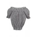 Black Vertical Stripe Puff Short Sleeve Boat Neck Crop Blouse