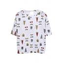 White Loose Cherry&Carrot&Strawberry T-Shirt