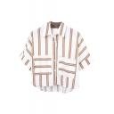 Khaki Double Stripe Panel Short Sleeve Crop Chiffon Shirt