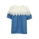 White Lace Cutwork Panel Denim Short Sleeve Blouse
