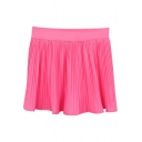Rose Pink Fresh Style Pleated High Waist Skirt