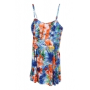 Blue&Orange Summer Plants Print Slip Rompers
