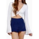 Twist Front Detail Long Skeeve Cropped Top