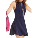 Office Lady Style Dark Blue Front Zip Sleeveless A-line Dress
