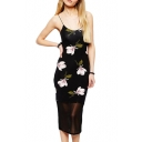 Pink Orchid Print Spaghetti Strap Slip Slim Black Dress