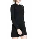 Asymmetric Zipper Embellished Black Knitted Long Sleeve Slim Dress
