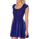 Dark Blue Geo-Tribal Pattern Print Velvet A-line Dress