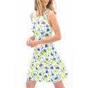 White Sleeveless Blue&Yellow Flora Tanks Dress