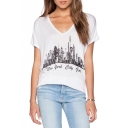 White V-Neck City Landscape Print Short Sleeve T-Shirt