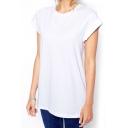 White Short Sleeve Tunic Plain T-Shirt