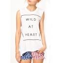 White Round Neck Wild at Heart Print Tank