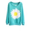 Sunflower Pattern Round Neck Long Sleeve Sweatshirt