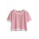 Red Striped Lace Trimmed Crop T-Shirt
