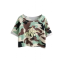 Green Camouflage Finger Print Crop T-Shirt