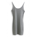 Gray Plain Summer New Fitted Tunic Tank