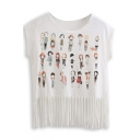 Character Print Short Sleeve Tee with Tassel Hem