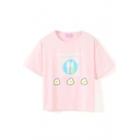 Pink Short Sleeve Omelette Breakfast Crop T-Shirt