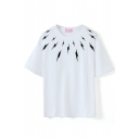 White Short Sleeve Black Flash Print T-Shirt