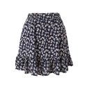 Dark Blue Background Fresh Flora Elastic Waist Short Skirt