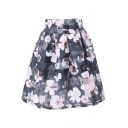 Gray Checker&White Flower Print Organza Pleated Skirt