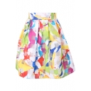 Colorful Ink Graffiti Print Organza Pleated Skirt