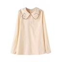 Apricot Long Sleeve Kitten Embroidered Lapel Blouse