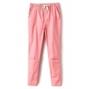 Pink Drawstring Waist Slim Crop Harem Pants
