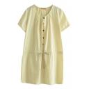 Beige Short Sleeve Gingham Drawstring Waist Dress