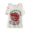 White Fresh Tomato Embroidered Letters T-Shirt