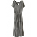 Dark Gray Short Sleeve Casual Slim Longline Dress