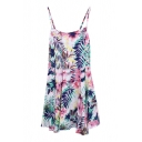 Pink&White Summer Plants Print Slip Rompers