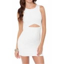 Sleeveless Cutout Front Zip Back Bodycon Dress
