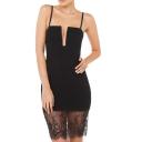 Sexy Front Cutout Bandeau Style Spaghetti Strap Lace Panel Dress