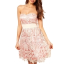Apricot Crochet Lace Double Layer Strapless Mini Dress