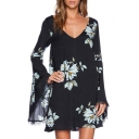 Elegant Lily Print Black Background Unique Back Cutout Shift Dress