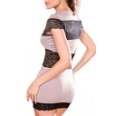 Round Neck Short  Sleeve Bodycon Mini Dress with Lace Inserted