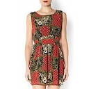 Tribal Round Neck Gathered Waist Sleeveless Tank Dress