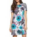 Short Sleeve Slim Geometry Pattern&Peony Print Dress