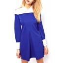 Navy Blue&White Panel Lapel Split Embellish Long Sleeve Dress