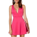 Pink V-Neck Cross Strap Cutout Dress