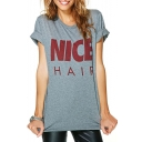 Gray Short Sleeve Nice Hair Print Tunic T-Shirt