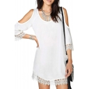 White Cold Shoulder 3/4 Sleeve Lace Trim Dress
