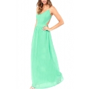 Green Chiffon Sheer Cross Open Back Maxi Dress
