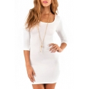White 3/4 Sleeve Cutout Back Fitted Dress