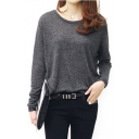 Pure Gray Round Neck Long Sleeve Loose Tunic Top