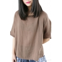 Plain Loose Round Neck Half Sleeve Tee with Pocket
