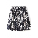Navy Background White Flora Print Pleated Skater Skirt