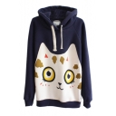 Cat Pattern Long Sleeve Hooded Pullover
